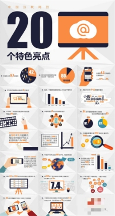 中国互联网的20个特色亮点ppt模板