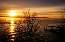 码头,着陆,阶段,海,黎明,黄昏,度假,度假,海洋,日出,黄昏,树,浮桥,黄昏