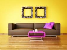 黄色背景墙图片素材