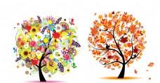 树木无画框 抽象花朵树木