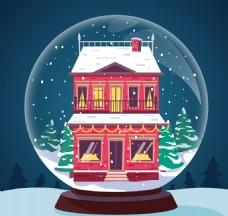圣诞球背景与漂亮的红房子降雪