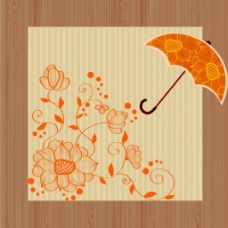 花纹伞背景矢量图