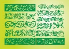 绿色的花边