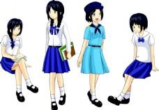 穿校服裙子的少女