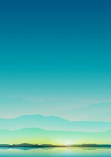 高清藍色山水風景圖片