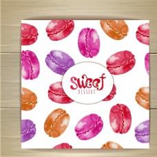 水彩绘马卡龙甜点卡片矢量图