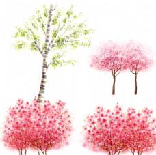 梦幻花朵树木