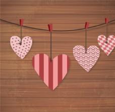 紙質愛心吊飾木紋背景矢量素材