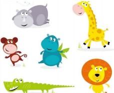 矢量卡通野生动物插画
