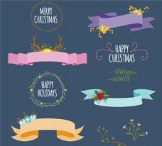 圣誕裝飾絲帶與花環矢量素