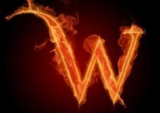 字母w 火焰 效果 创意 组合