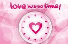 粉色爱心钟表矢量素材