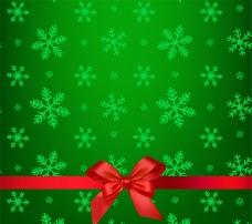 綠色雪花絲帶背景矢量素材