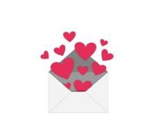 飛出信封的愛心矢量素材