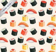 美味日本寿司无缝背景矢量图
